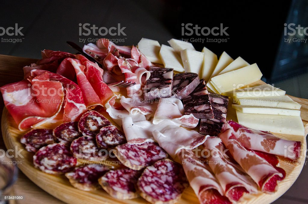 Meats and cheeses stock photo