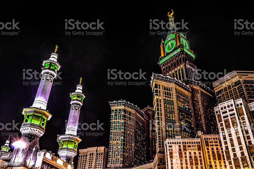 Mecca's towers stock photo