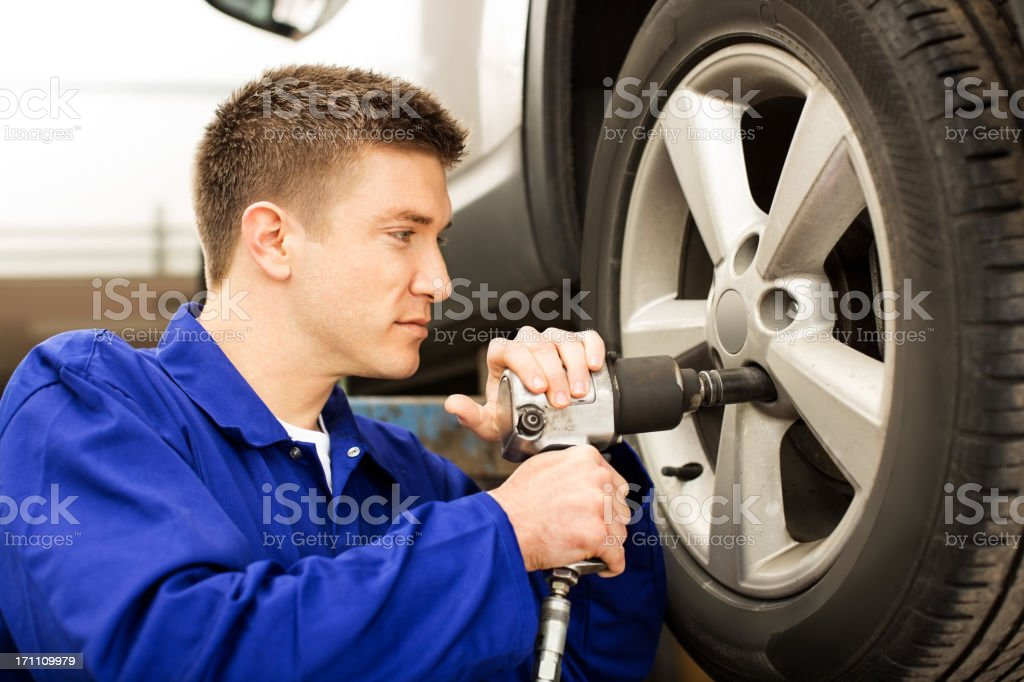 Mechanic At Auto Garage royalty-free stock photo