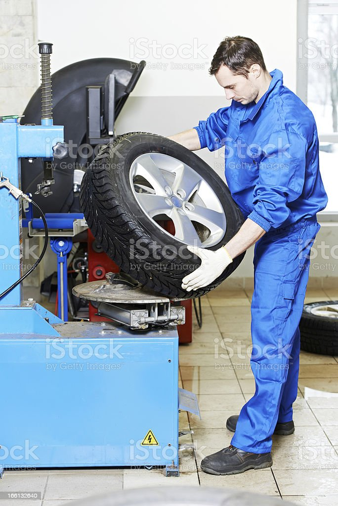 mechanic at auto wheel tyre changer royalty-free stock photo