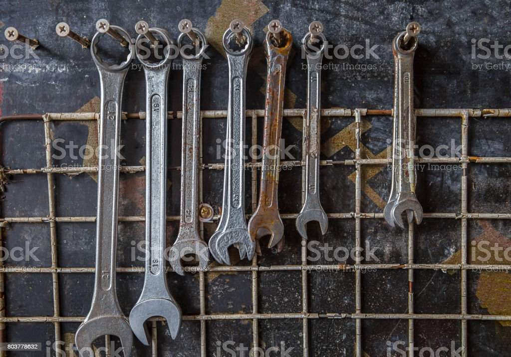 Mechanic, Auto Repair Shop, Engine, Machine Part, People stock photo