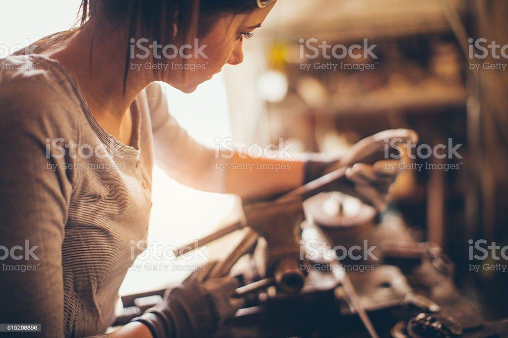 Mechanic girl stock photo