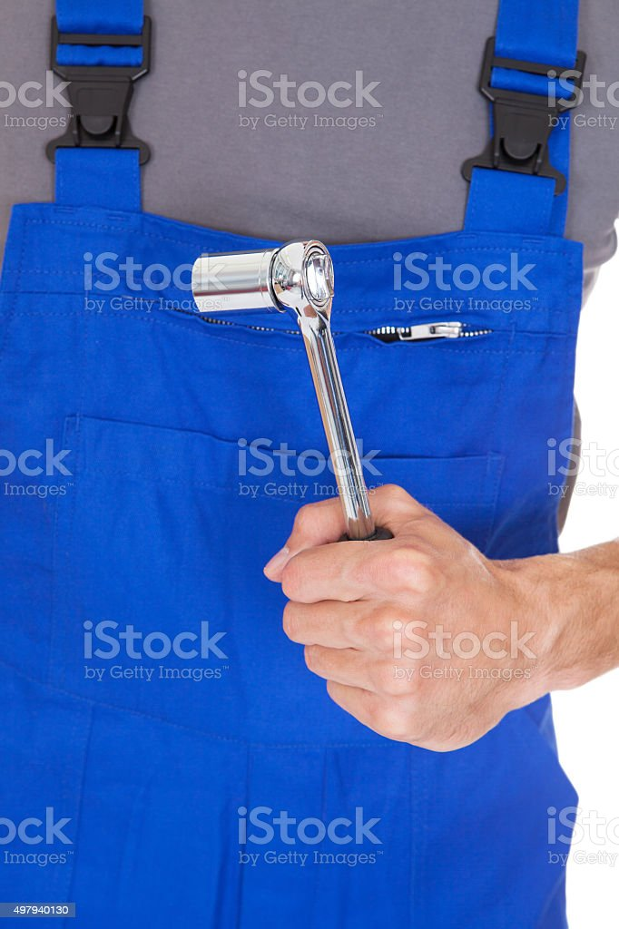 Mechanic Holding Ratchet stock photo