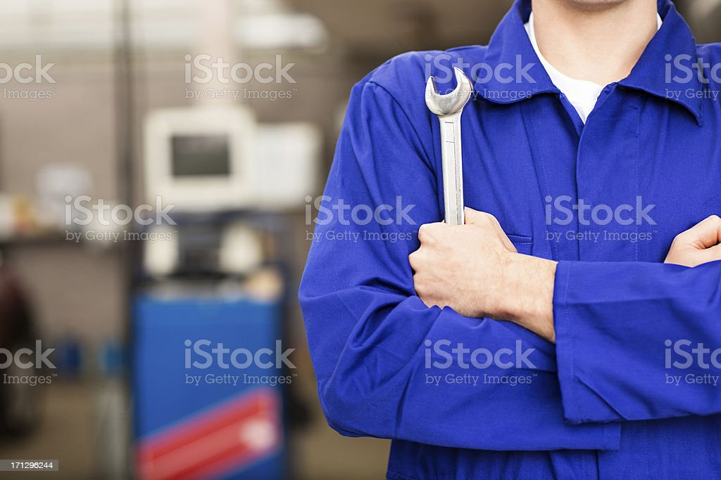 Mechanic Holding Wrench stock photo