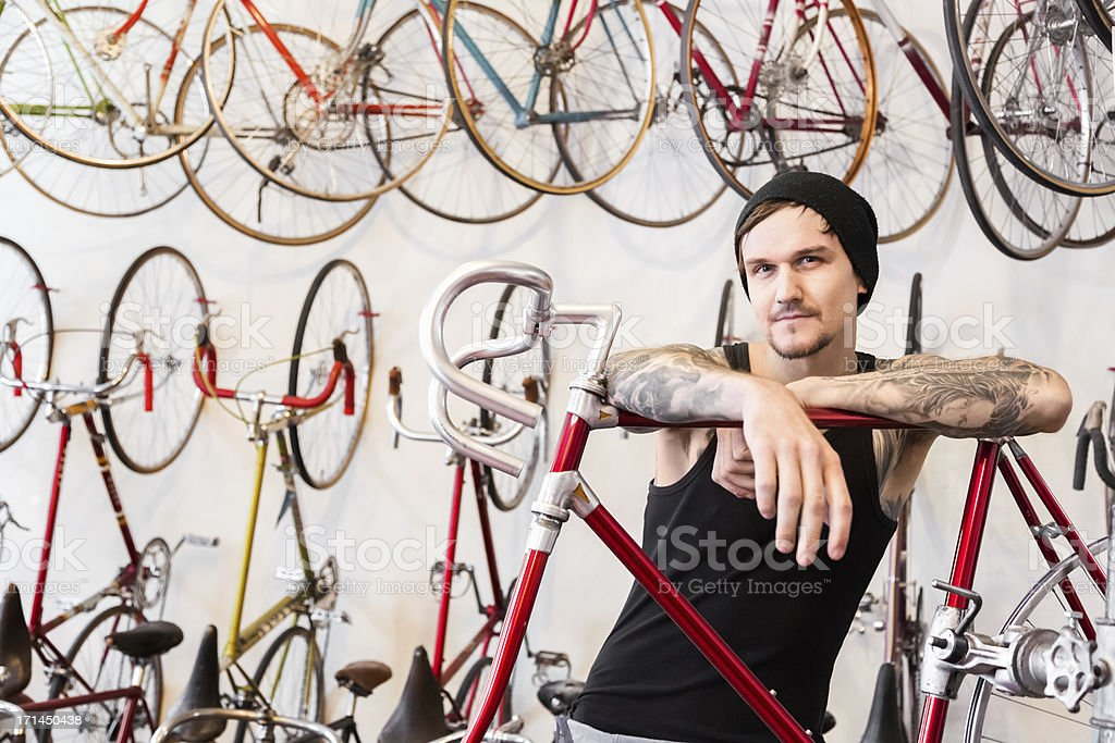 Mechanic in a Bike Store royalty-free stock photo