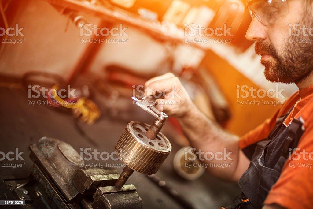 Mechanic in workshop stock photo