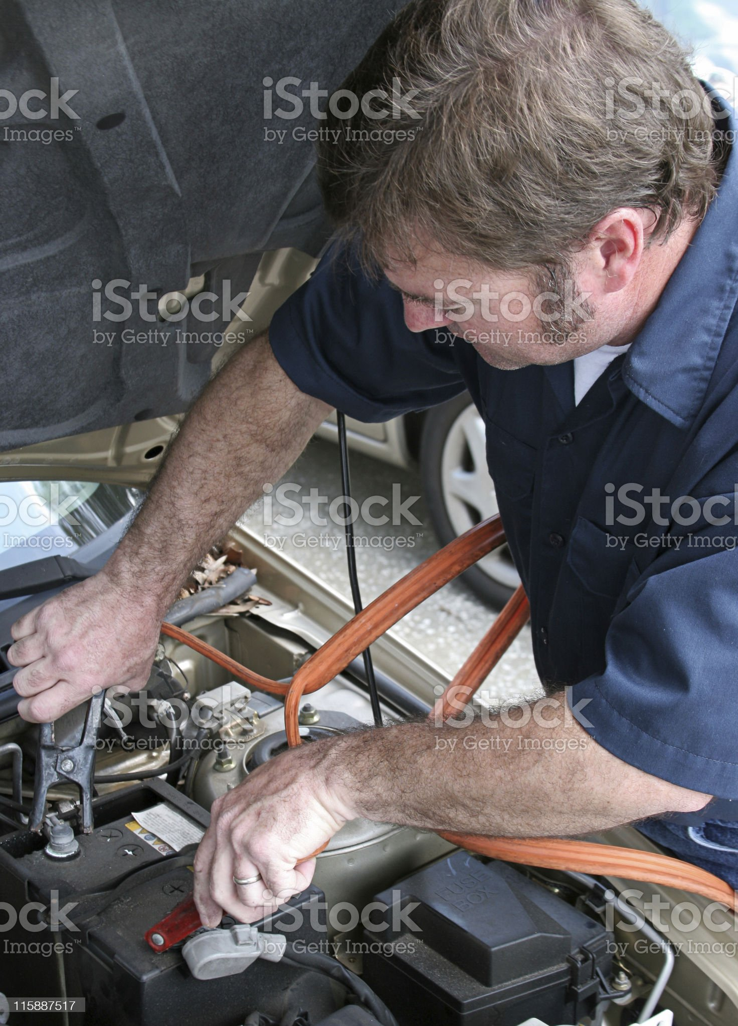Mechanic & Jumper Cables royalty-free stock photo