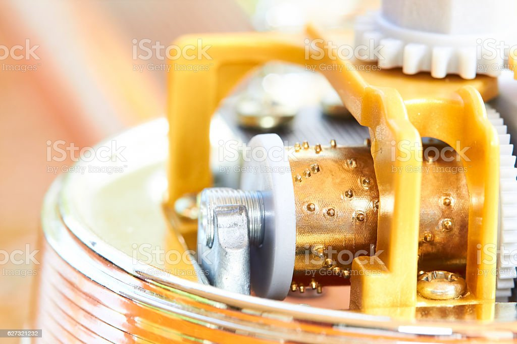 Mechanic of music box stock photo