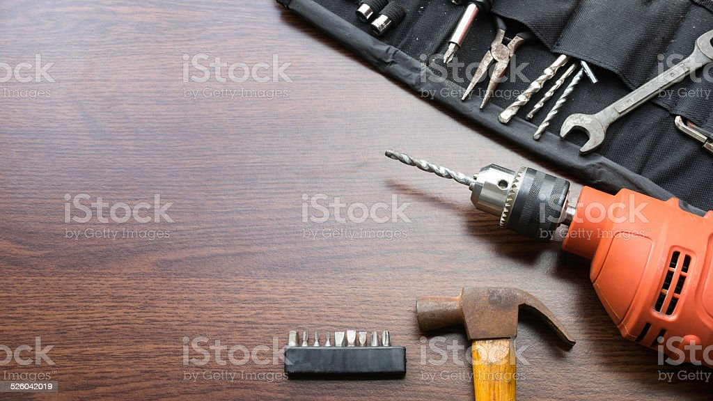 Mechanic or carpentry tools kit with room for text stock photo