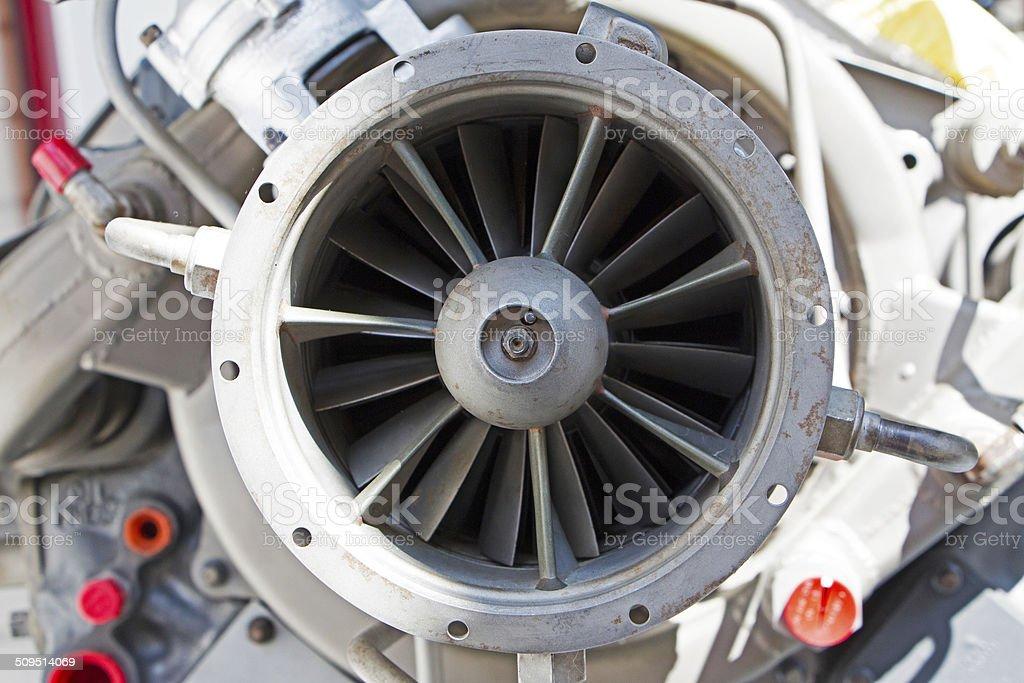 Mechanic parts of the old turbine engine stock photo