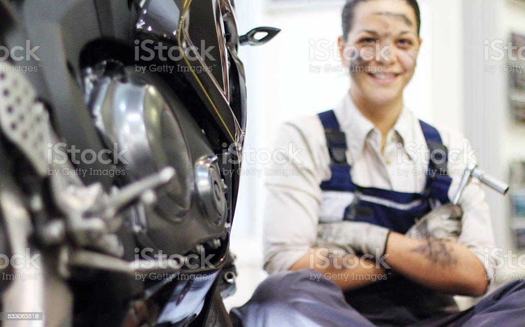 Mechanic repair engine stock photo