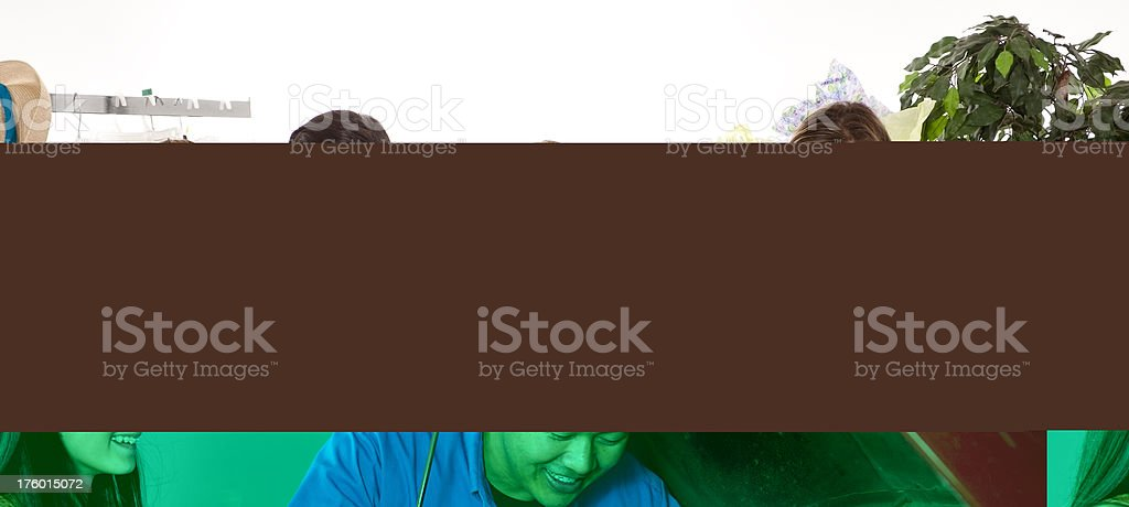 Mechanic showing teenager the problem with her vehicle. royalty-free stock photo