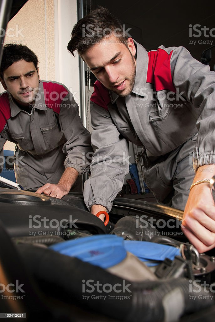 Mechanic teamwork stock photo