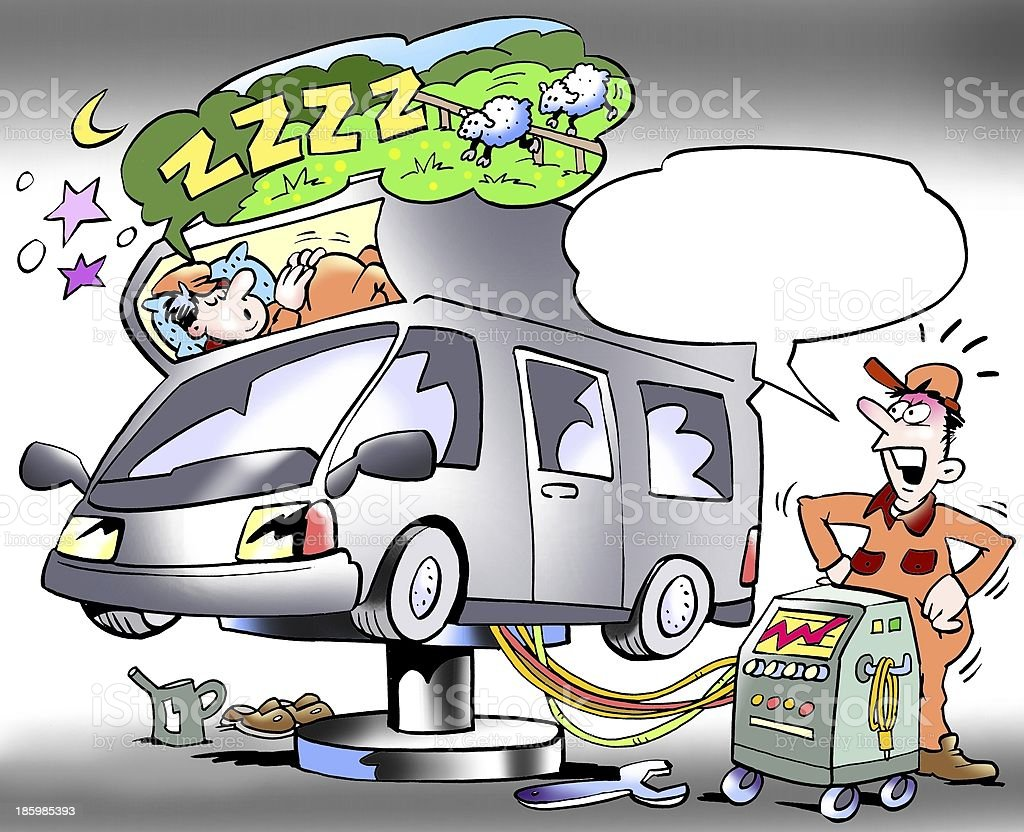 Mechanic testing sleeping compartment of a camper royalty-free stock photo