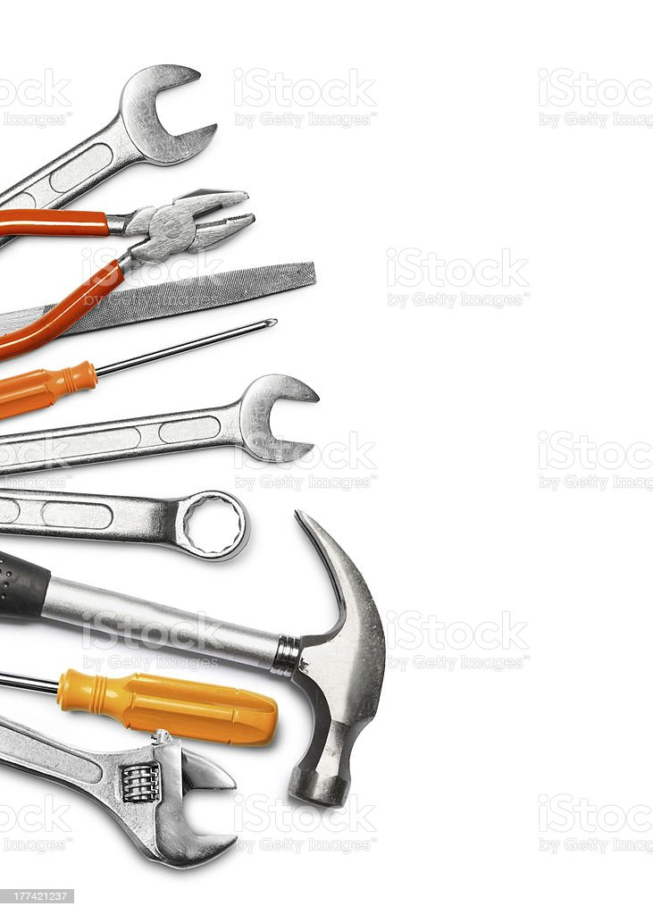 Mechanic tools on white stock photo