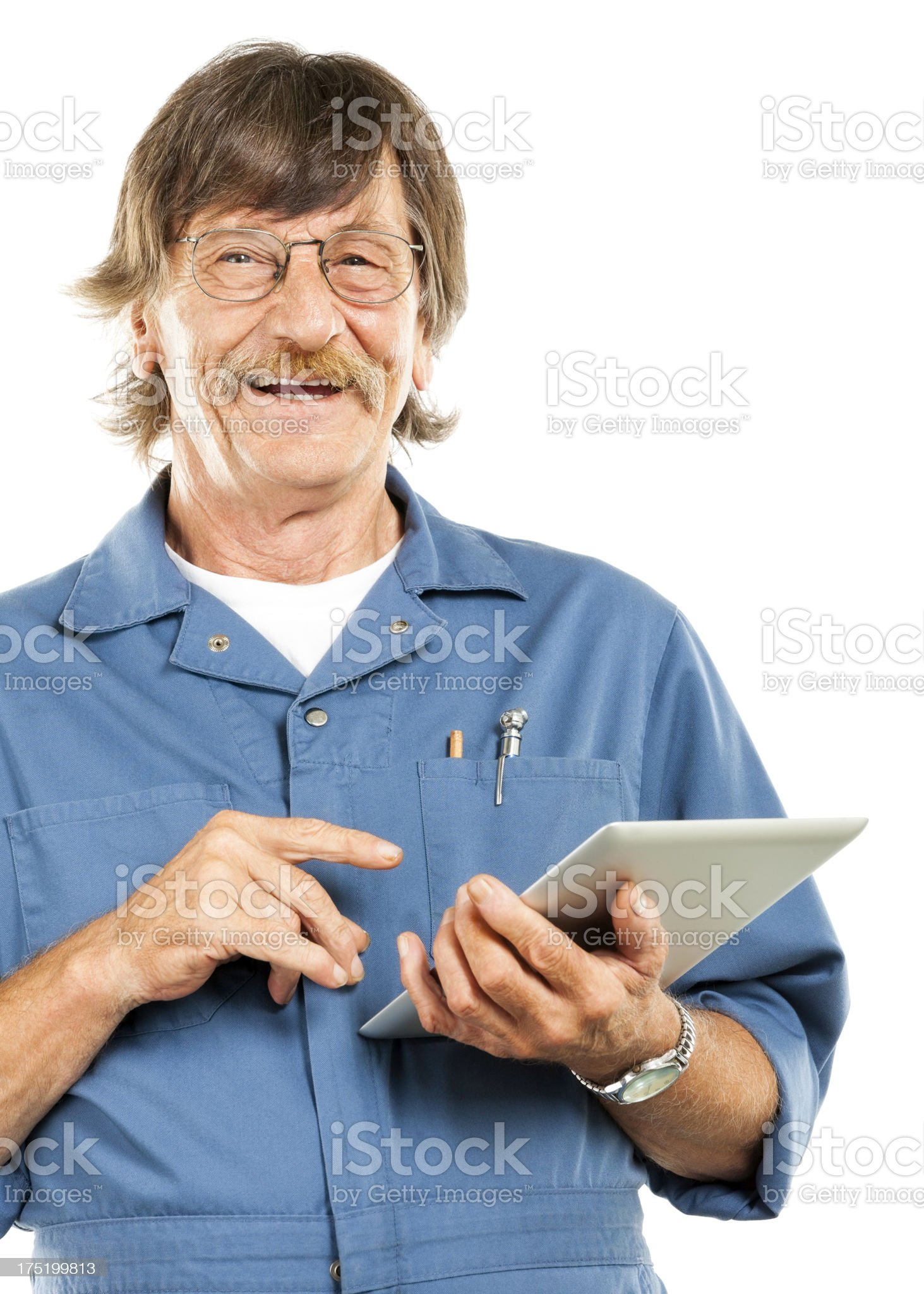 Mechanic Using a Tablet (Isolated on White) royalty-free stock photo