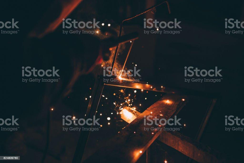 Close-up of a man welding outdoors