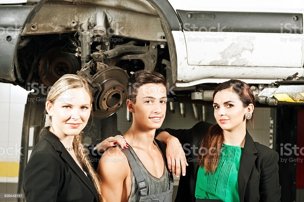 Mechanic with customer stock photo