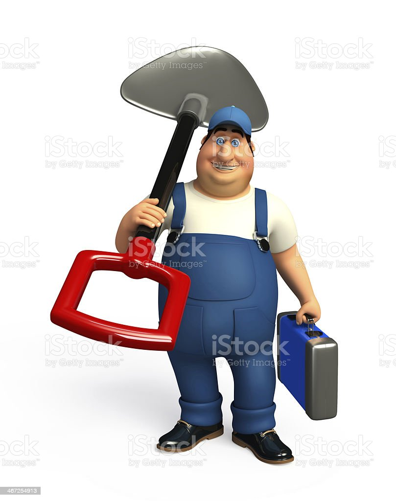 Mechanic with spade royalty-free stock photo