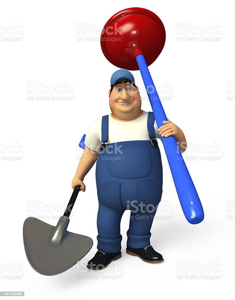 Mechanic with toilet plunger royalty-free stock photo