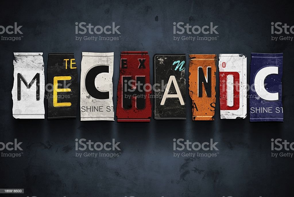 Mechanic word on vintage car license plates, concept sign royalty-free stock photo