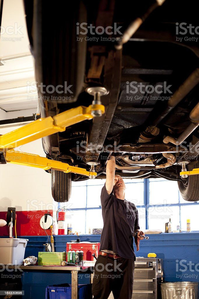Mechanic Works on a Car royalty-free stock photo