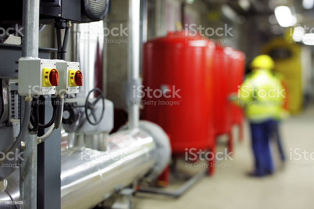 Mechanical and electrical plant rooms stock photo