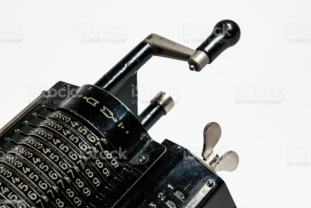 Mechanical arithmometer - calculator made in USSR stock photo