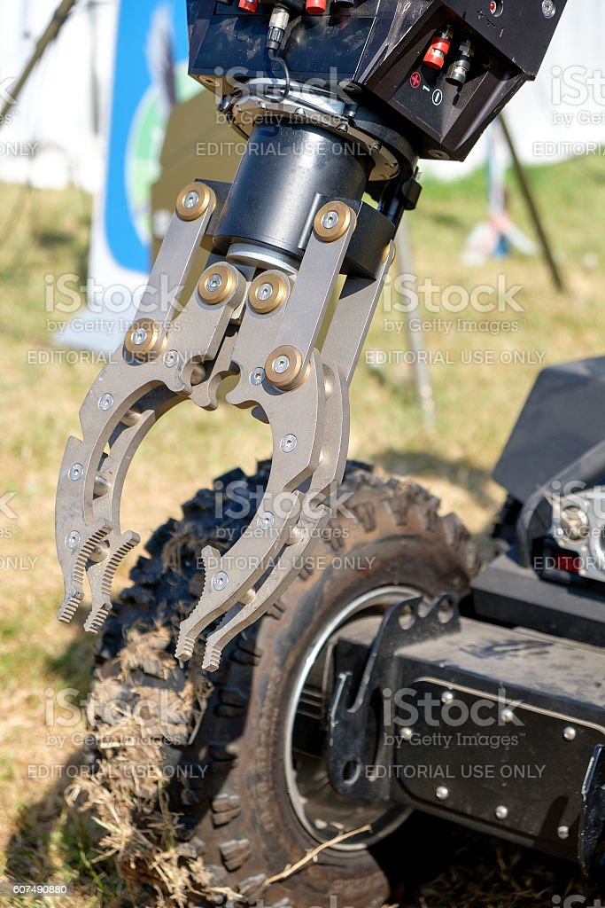 mechanical arm bomb disposal robot unit defuse bombs stock photo