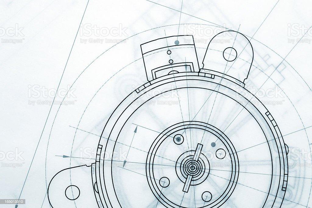 Mechanical Blueprint stock photo