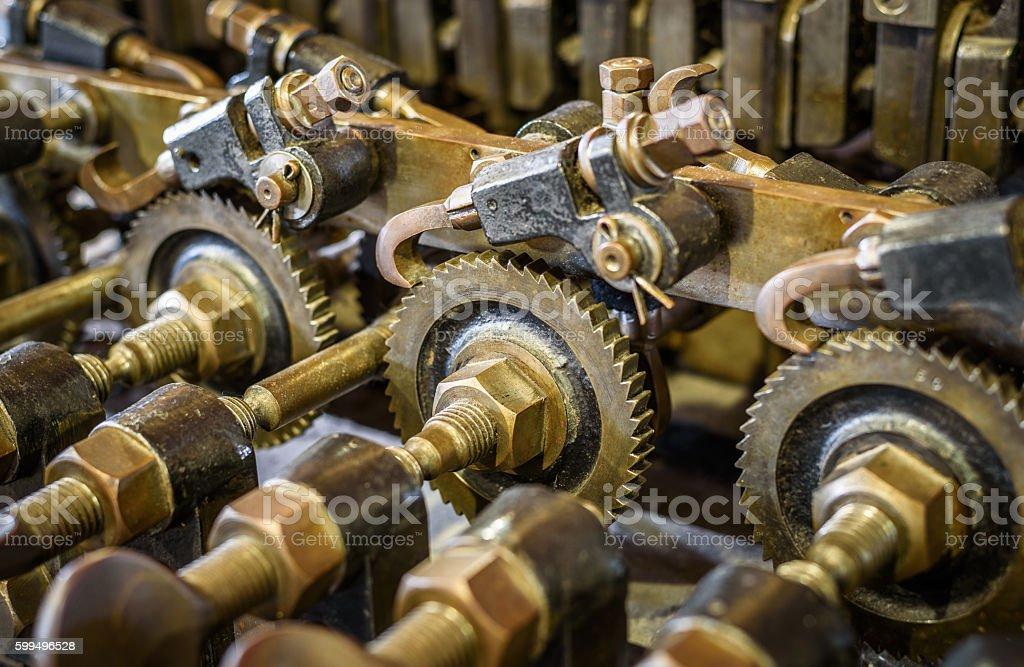 Mechanical Brass Cogs stock photo