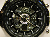mechanical chrome watch with black dial