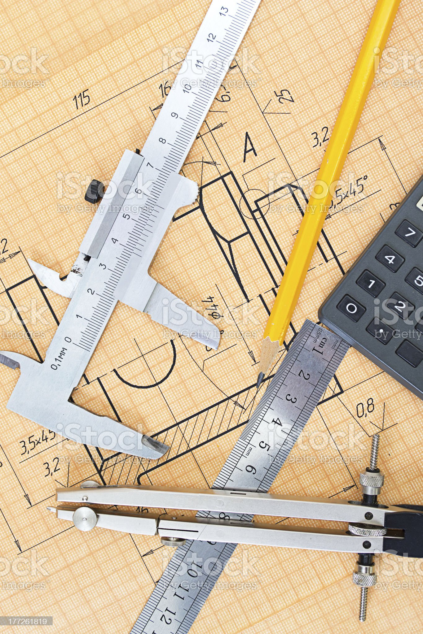 Mechanical circuit, a ruler, compass, calipers. royalty-free stock photo