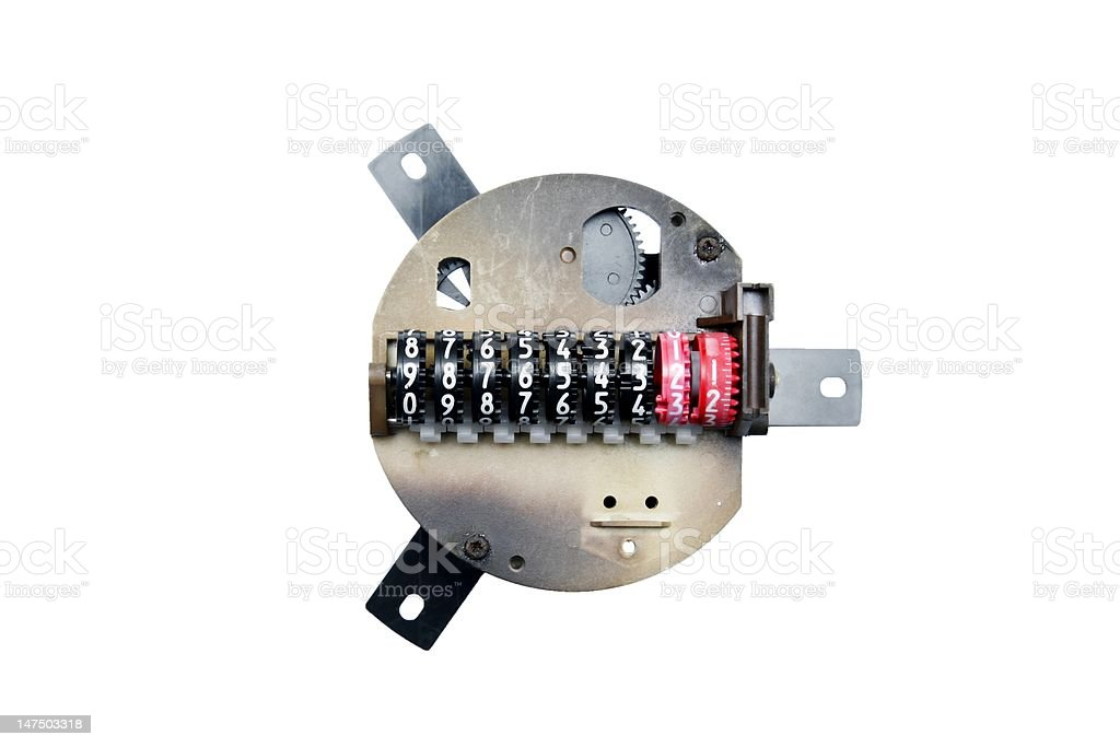 Mechanical Counter on white background royalty-free stock photo