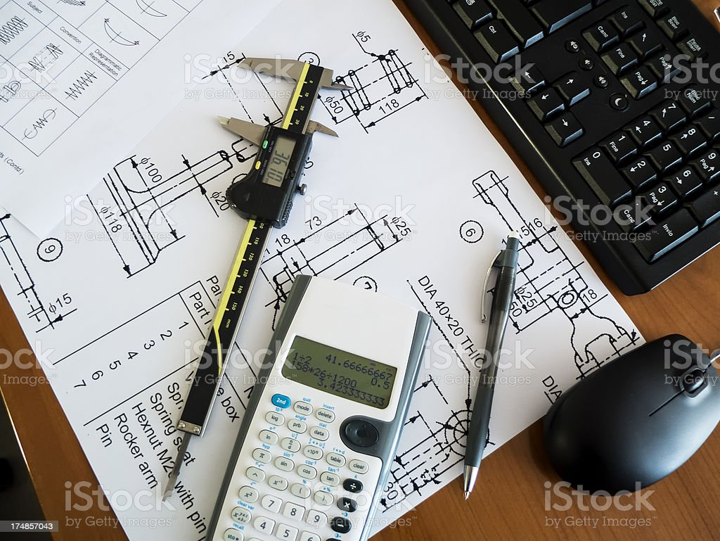 Mechanical design office royalty-free stock photo
