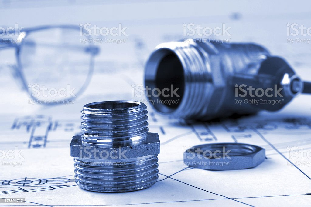 mechanical drawing and plumbings royalty-free stock photo