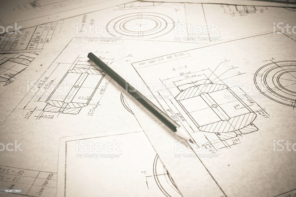mechanical drawing detail and design tools royalty-free stock photo