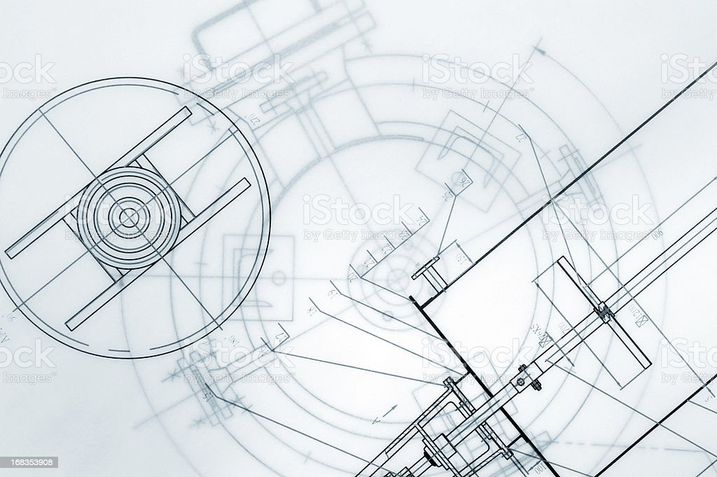 Mechanical Engineering Blueprint stock photo