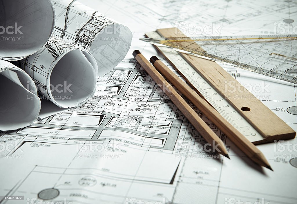 A mechanical engineer's blueprints royalty-free stock photo