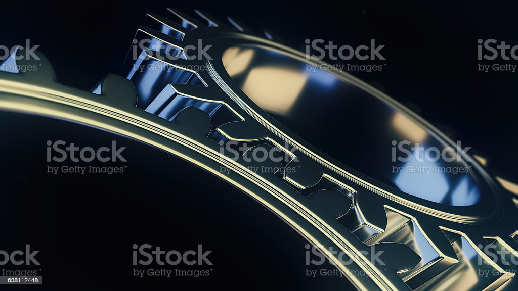 mechanical gear with sharp light and black environment 3d illust stock photo