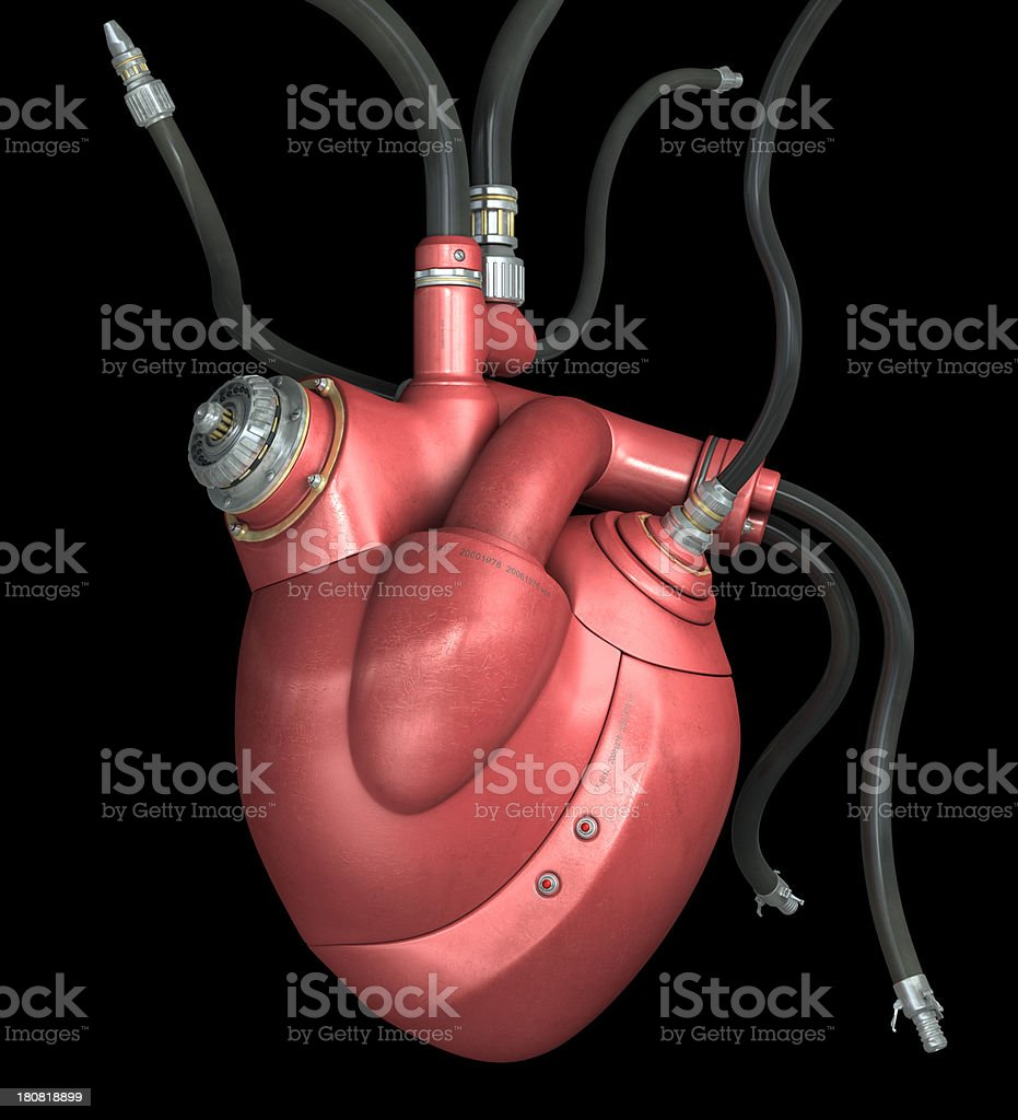 Mechanical Heart on a black background stock photo
