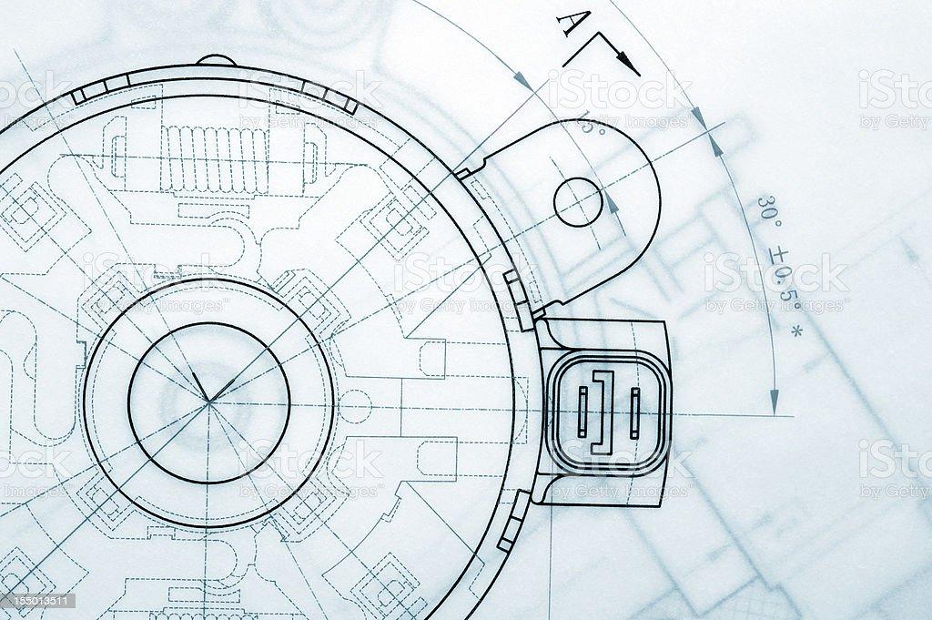 Mechanical Industry Blueprint stock photo