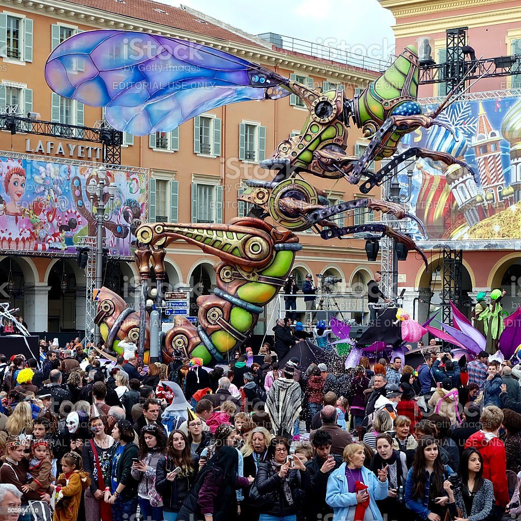 Mechanical Locust at Nice Carnival stock photo