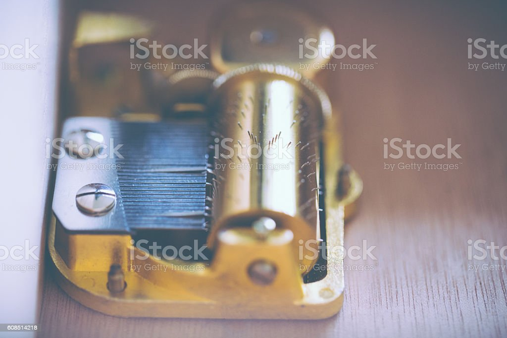 Mechanical music box mechanism stock photo
