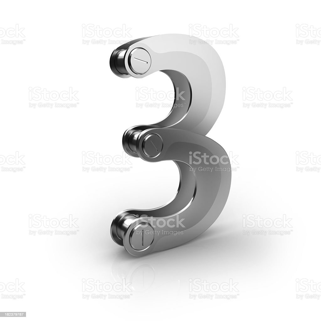 mechanical number  3 royalty-free stock photo