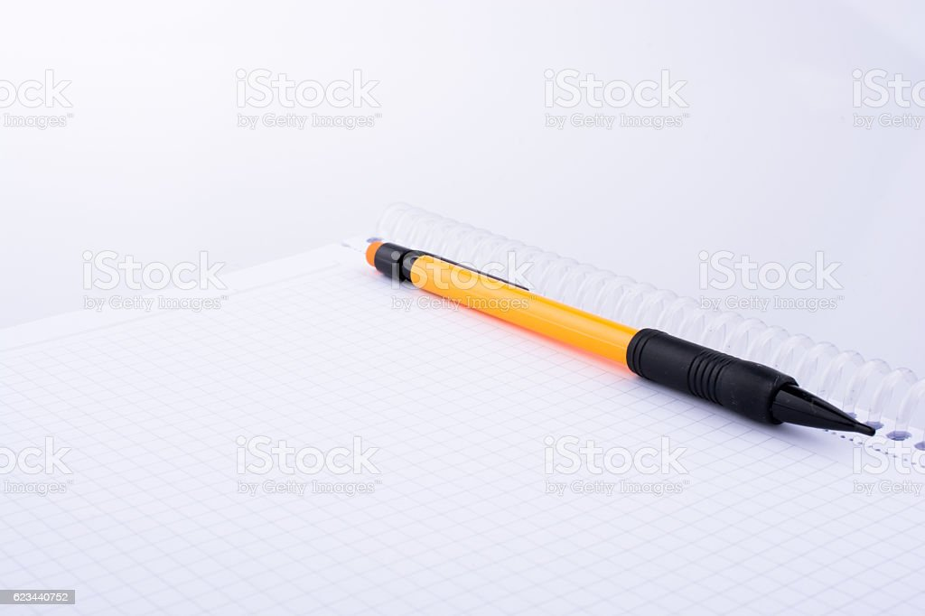 mechanical pencil on white background stock photo