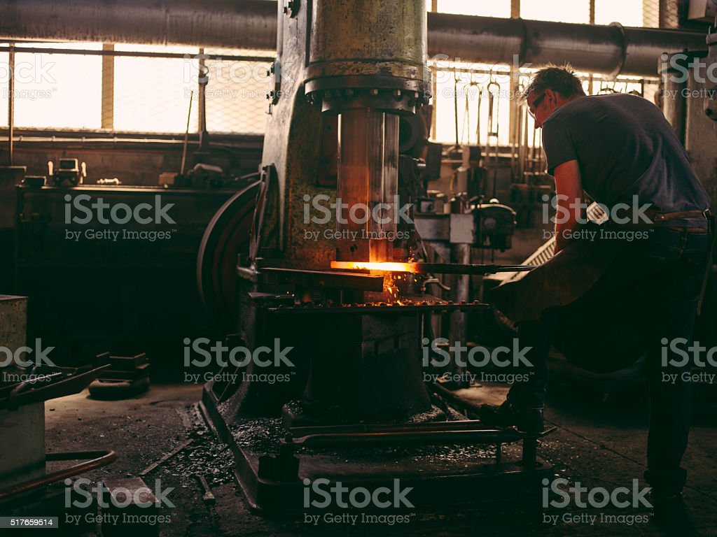 Mechanical press on a blacksmith's workshop stock photo