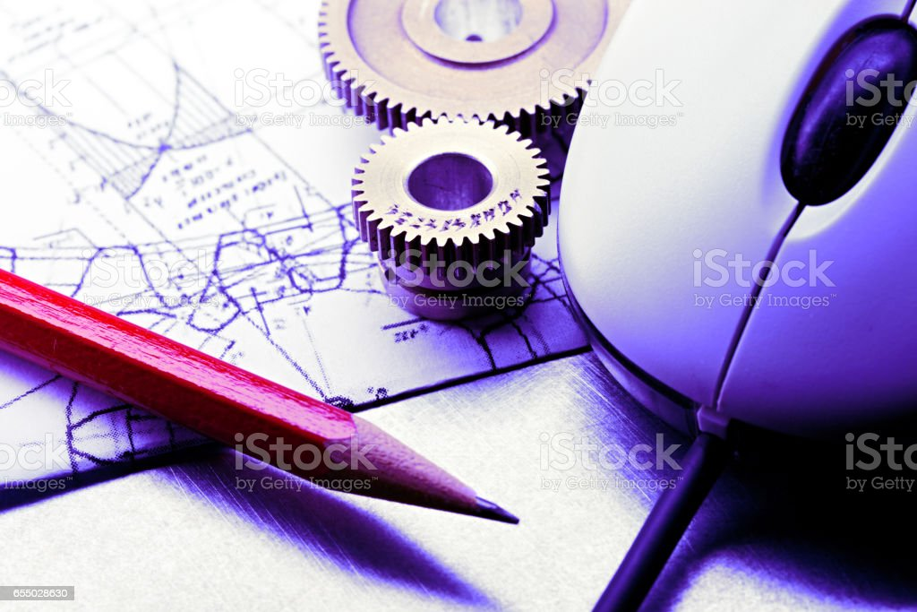 Mechanical ratchets, drafting and mouse stock photo