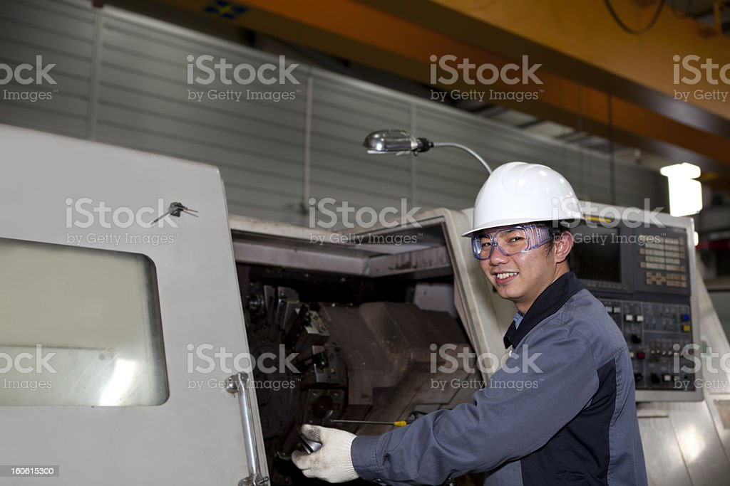mechanical technician of cnc machine royalty-free stock photo