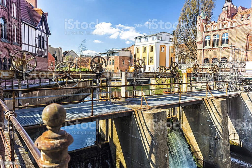 Mechanical weir in Cottbus. Germany stock photo